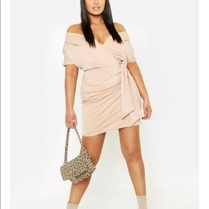 Plus Wrap Front Belted Crepe Dress
